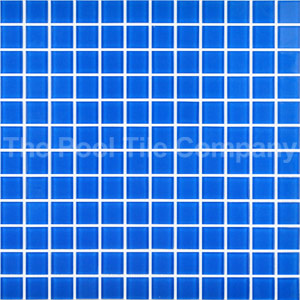 GCR050 Azure Blue 23mm crystal glass mosaic tiles