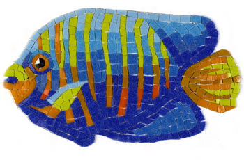 Glass Mosaic picture of a colourful angelfish