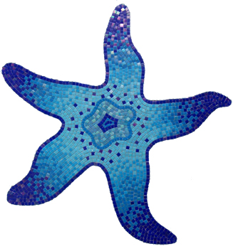 Glass Mosaic picture of a blue starfish