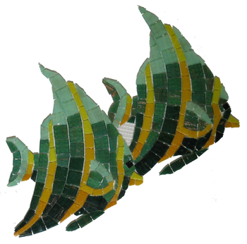 Glass Mosaic picture of twin angelfish
