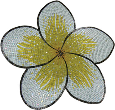 Glass Mosaic picture of a white and yellow frangipani