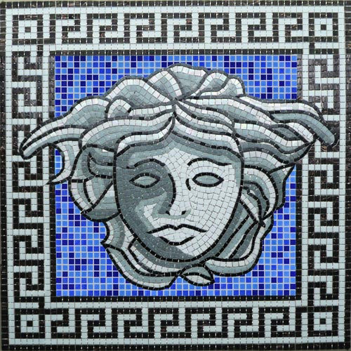Glass Mosaic picture of a ancient greek medusa head