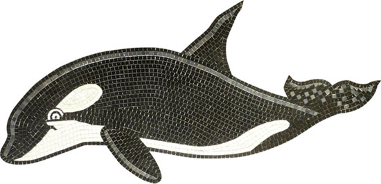 Glass Mosaic picture of an Orca killer whale