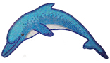 Glass Mosaic picture of dolphin using pearl glass