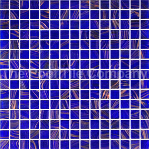 GC125 Dark Blue Gold glass mosaic tiles in place