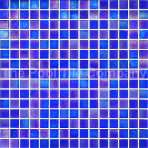 GC130 Dark Blue Pearl glass mosaic tiles in place