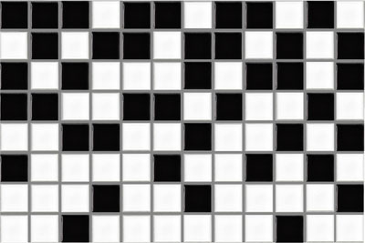 Black and White Patterned Ceramic Mosaic Waterline Tiles