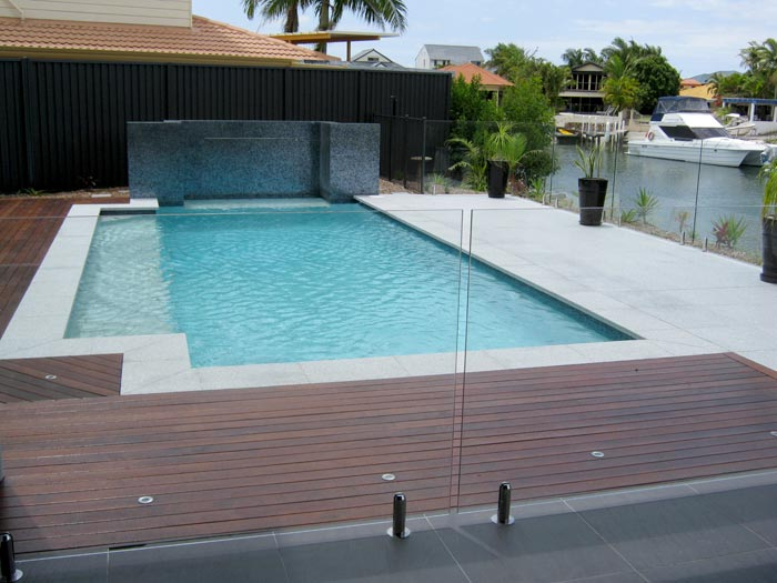 Light Grey Granite Stone Pool Pavers Used With Timber Decking