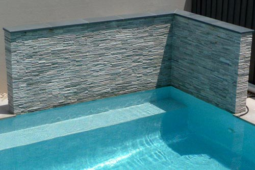 Inground Spas With Stack Stone : Ss frosted ice stacked stone feature wall by the pool