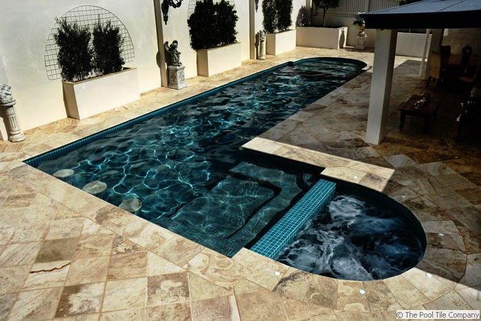 Travertine Coffee Swirl Brushed Chiselled Edge Pool Tiles And Pavers