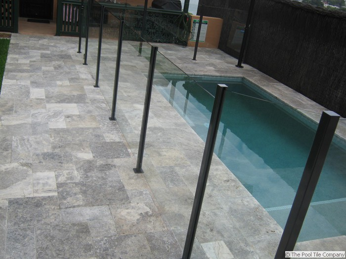 travertine silver tumbled unfilled brushed & chiselled edge pool