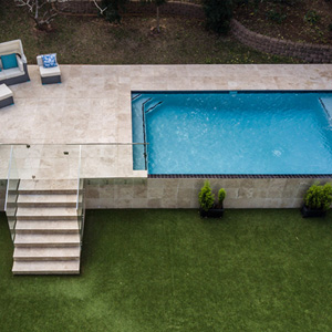 Linen Travertine Pool Coping and surrounds