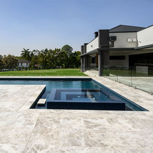 Silver Marble used as surrounds of this pool.