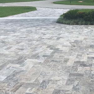 Silver Travertine Cobble Tile on Driveway