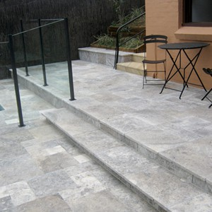 Silver Travertine Steps and Pavers