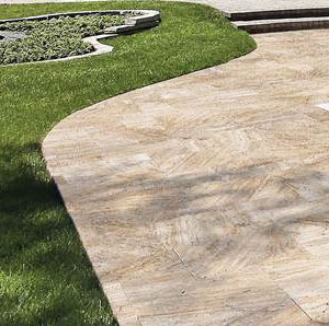 Ivory Travertine Pool Coping and Tiles