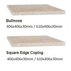 Macadamia Travertine honed filled coping profiles