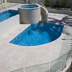 Macadamia Travertine honed filled Pool Coping and Tiles