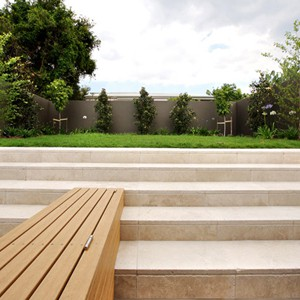 Tumbled Travertine 400x400mm outdoor staircase