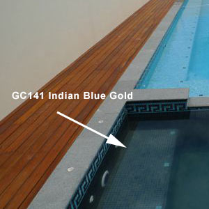 GC141 Indian Blue Gold mosaic pool tiles shown in tiled spa