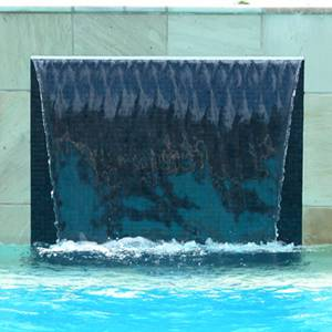 GC100 Charcoal Glass Mosaic tiles used as waterline tiles and for a waterfall feature wall