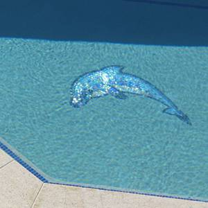 1m Dolphin jumping mosaic mural