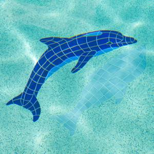 Diving Dolphin with shadow mosaic mural