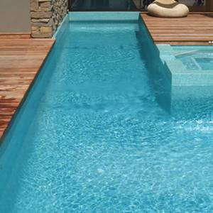 GC093 Aquamarine Pearl glass mosaic pool tiles shown tiling a pool interior walls and bottom