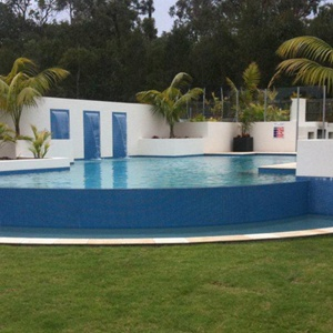 GC135 Dark Sky Blue glass mosaic pool tiles in place