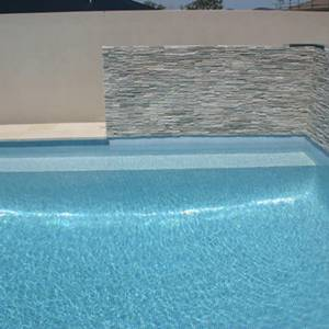 Swimming pool tiled with GC139 Ice Blue Pearl 20mm glass mosaic pool tiles