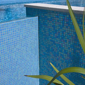 GC184 Light Sky Blue Pearl glass mosaic tiles tiling a pool and feature wall