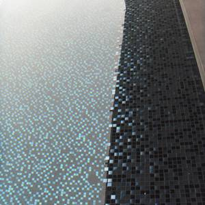 Fully tiled pool which used GCR320 Charcoal Crystal Pearl Blend 20mm glass mosaic tiles