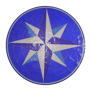 Glass Mosaic picture of a blue compass