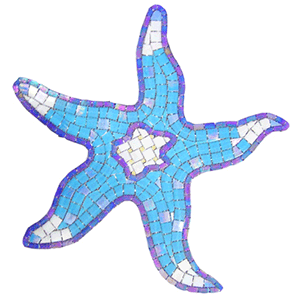 Blue Starfish mosaic picture hand cut glass