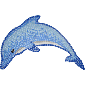 Dolphin jumping mosaic picture hand cut glass