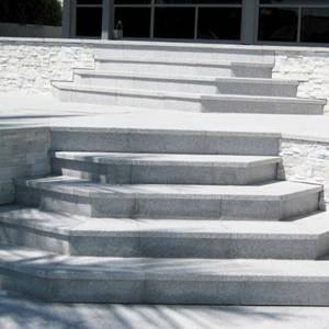 Light Grey Granite stone paving tiles used for feature steps