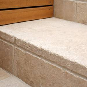 Travertine Linen Tumbled Unfilled stone paving steps