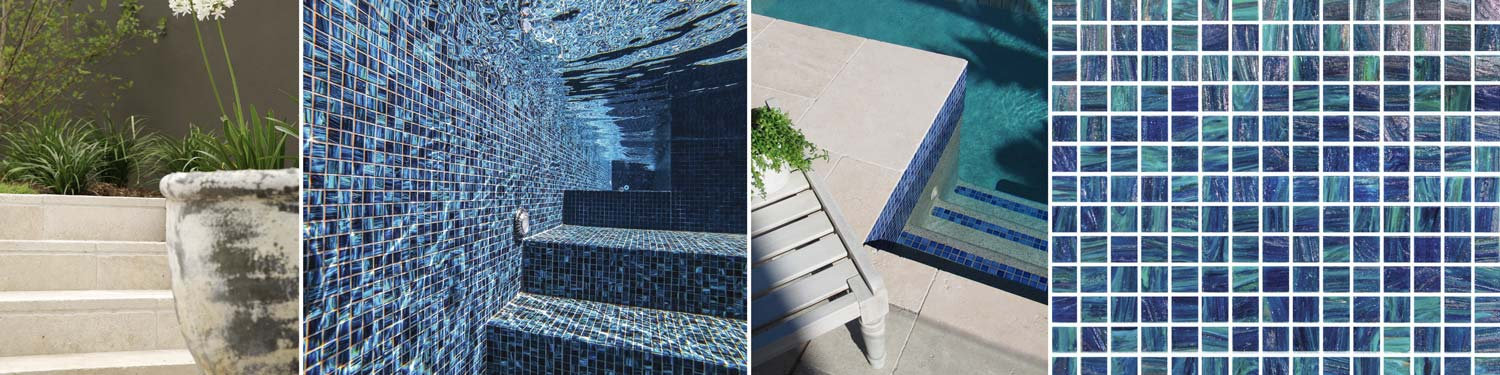 Pool Tiles in place