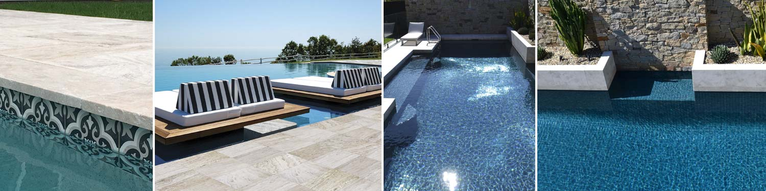 Sample of our Pool Tiles shown inside and around swimming pools in Australia